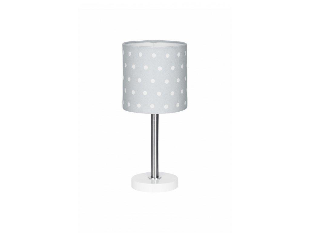 Krásná a skvěle kombinovatelná dětská stolní lampička - Šedá s puntíky