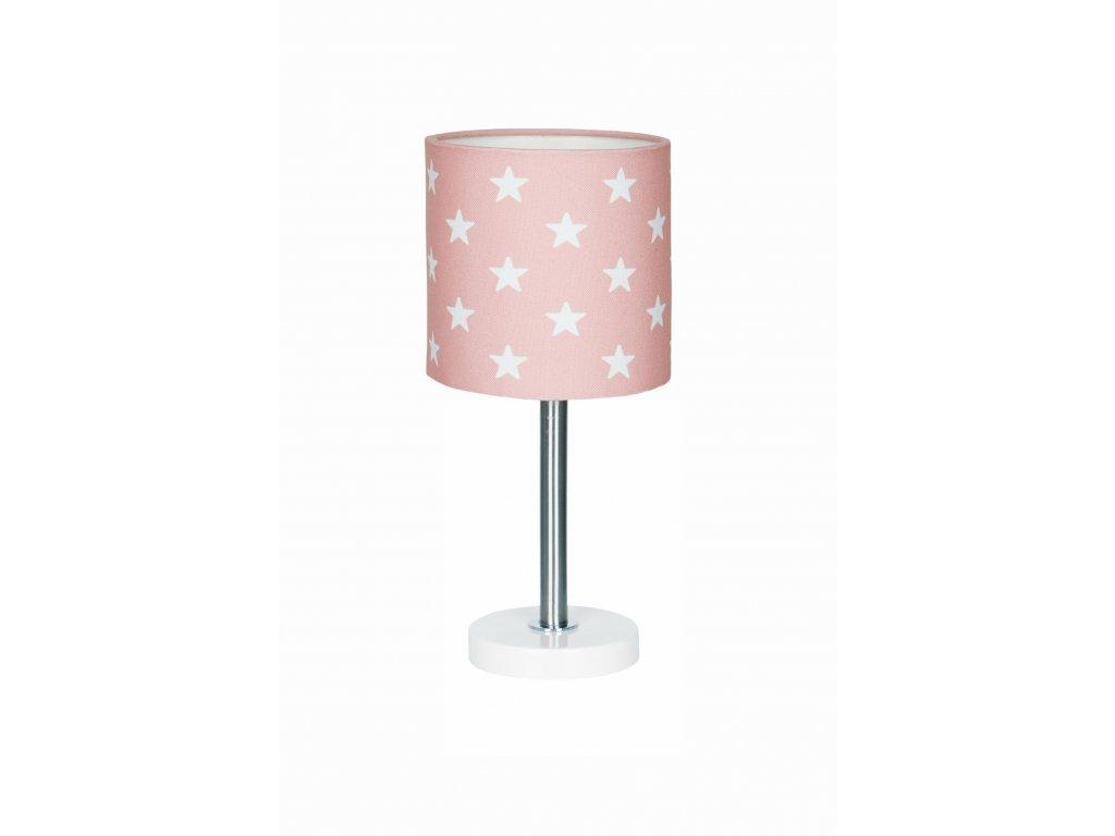 Pastelově růžová holčičí stolní lampička - Růžová s hvězdami na stolek či komodu