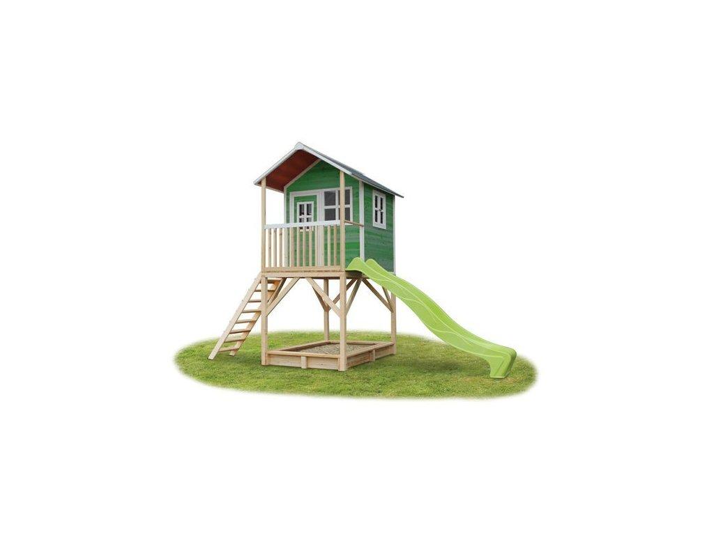 Zahradní domeček pro děti v zelené barvě na nožičkách z kvalitního dřeva