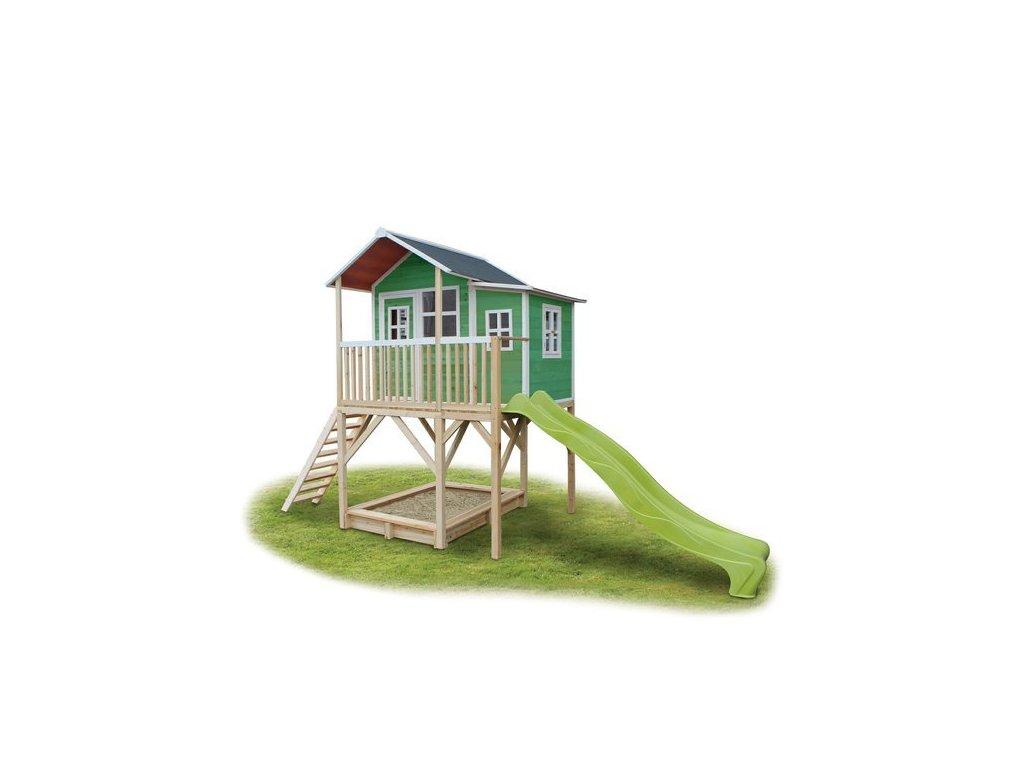 Dětský zahradní domeček na nožkách v zelené barvě se skluzavkou a pískovištěm
