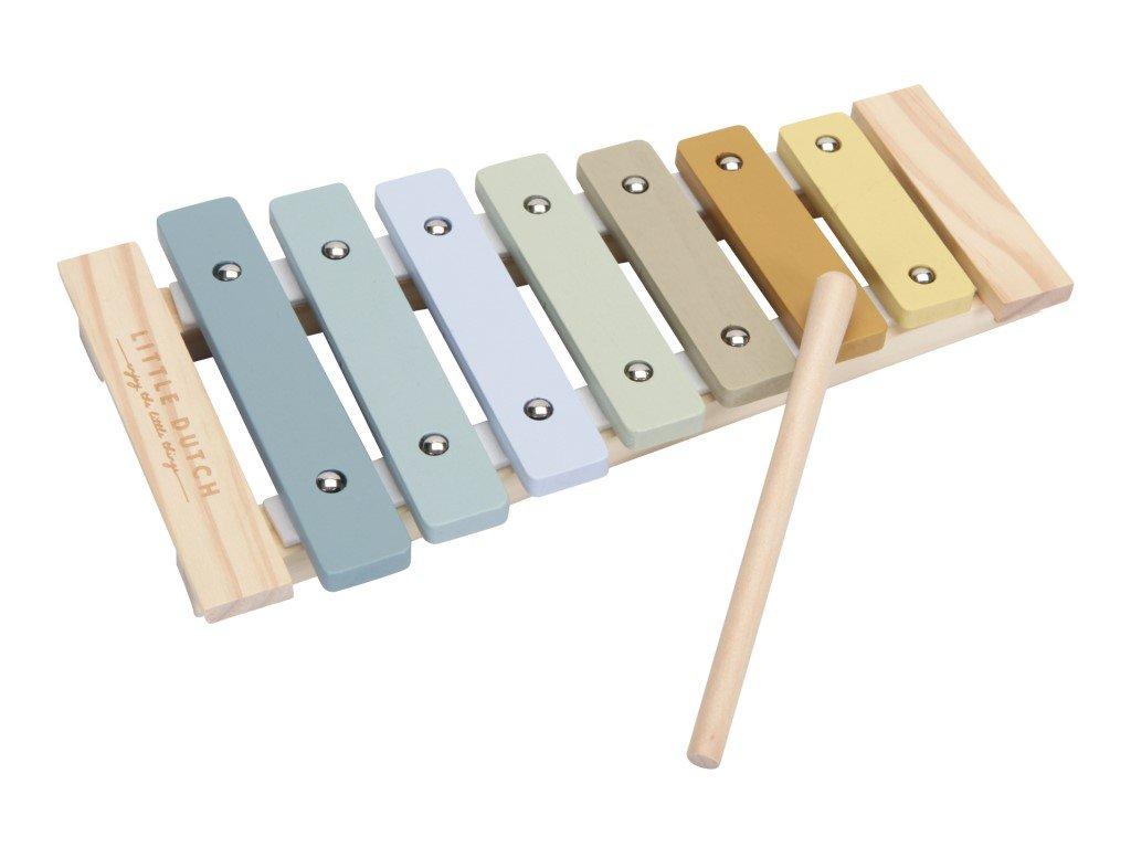 xylofon ze dřeva modrý