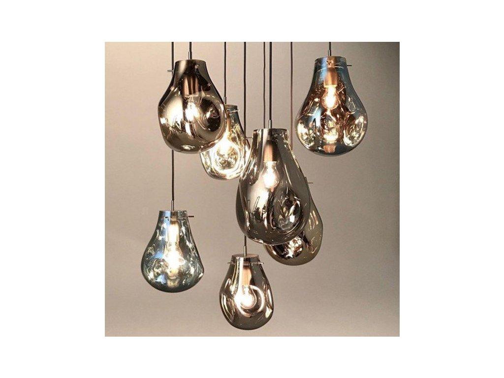 skleněné stropní svítidlo asymetrického tvaru