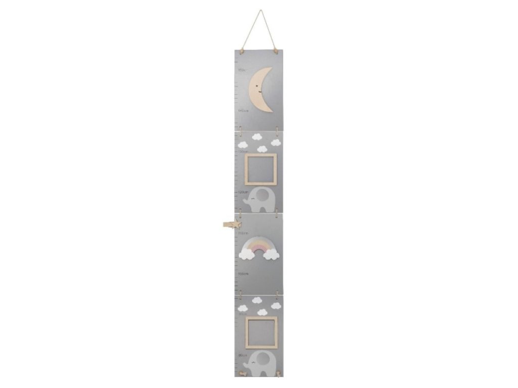 Designový a praktický dřevěný metr na stěnu do dětského pokoje - Slon
