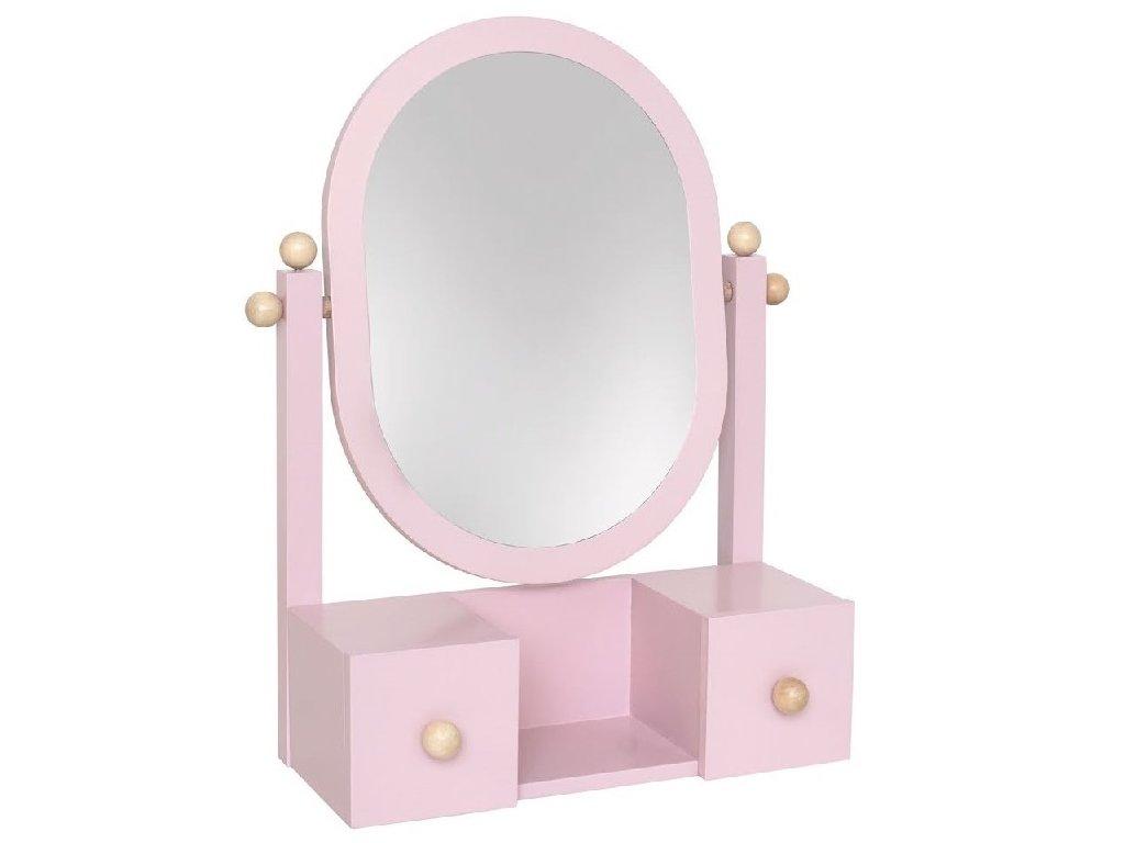 Dřevěné růžové kosmetické zrcadlo pro holčičky