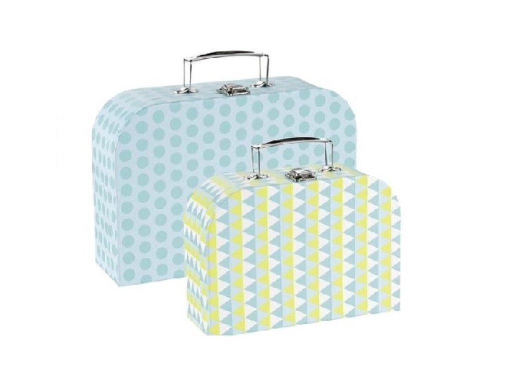 Modrá sada kufrů pro děti s moderním vzorem