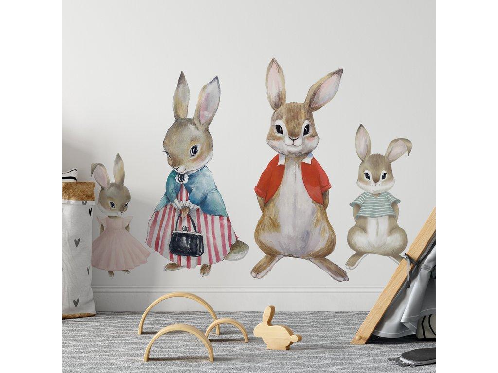 samolepka na zeď králičí rodinka do dětského pokoje