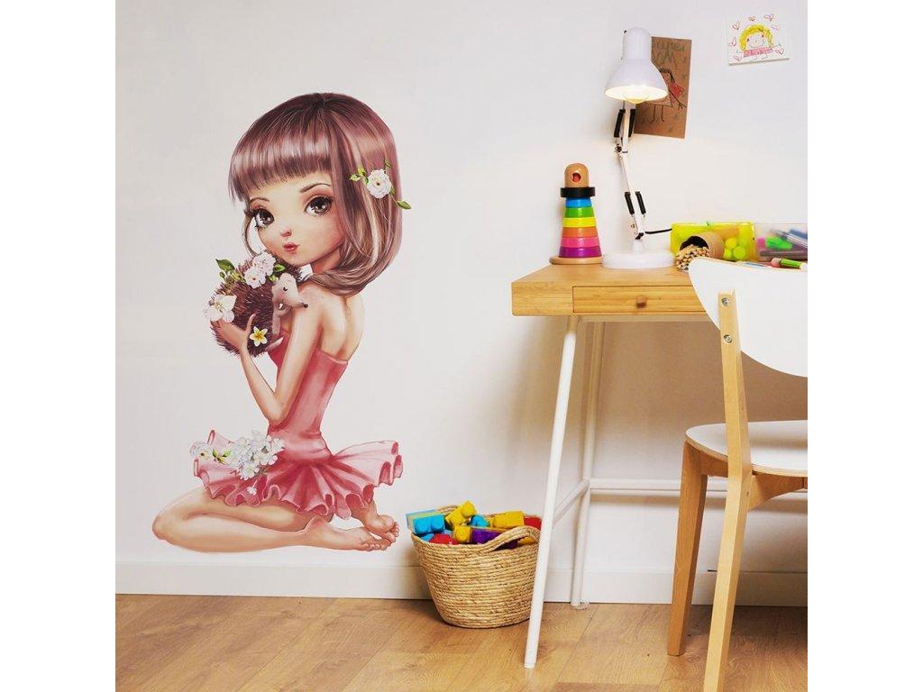 Krásná samolepka (nálepka) na zeď holčička s ježečkem