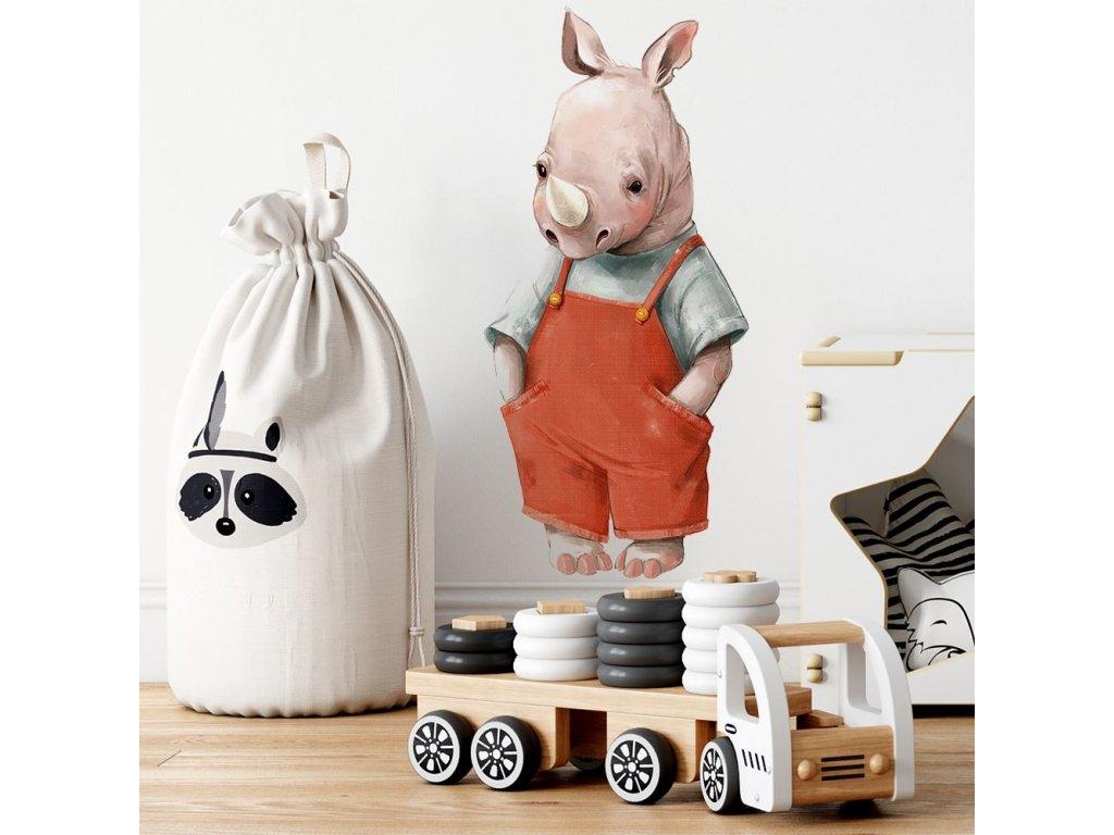 Dětská samolepka na zeď nosorožec v kalhotách
