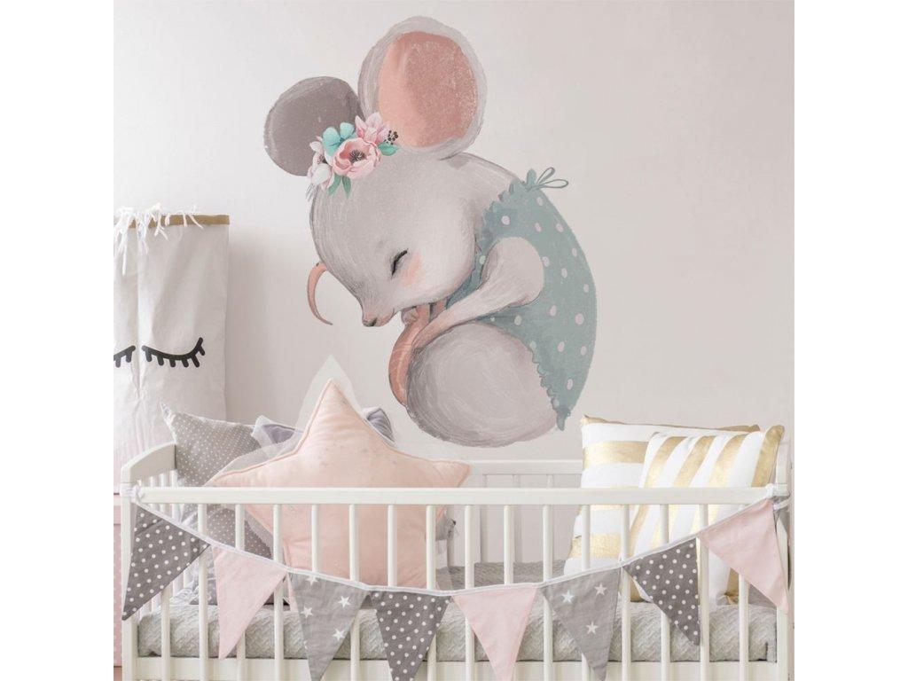 Dětská nálepka na zeď spící myšička