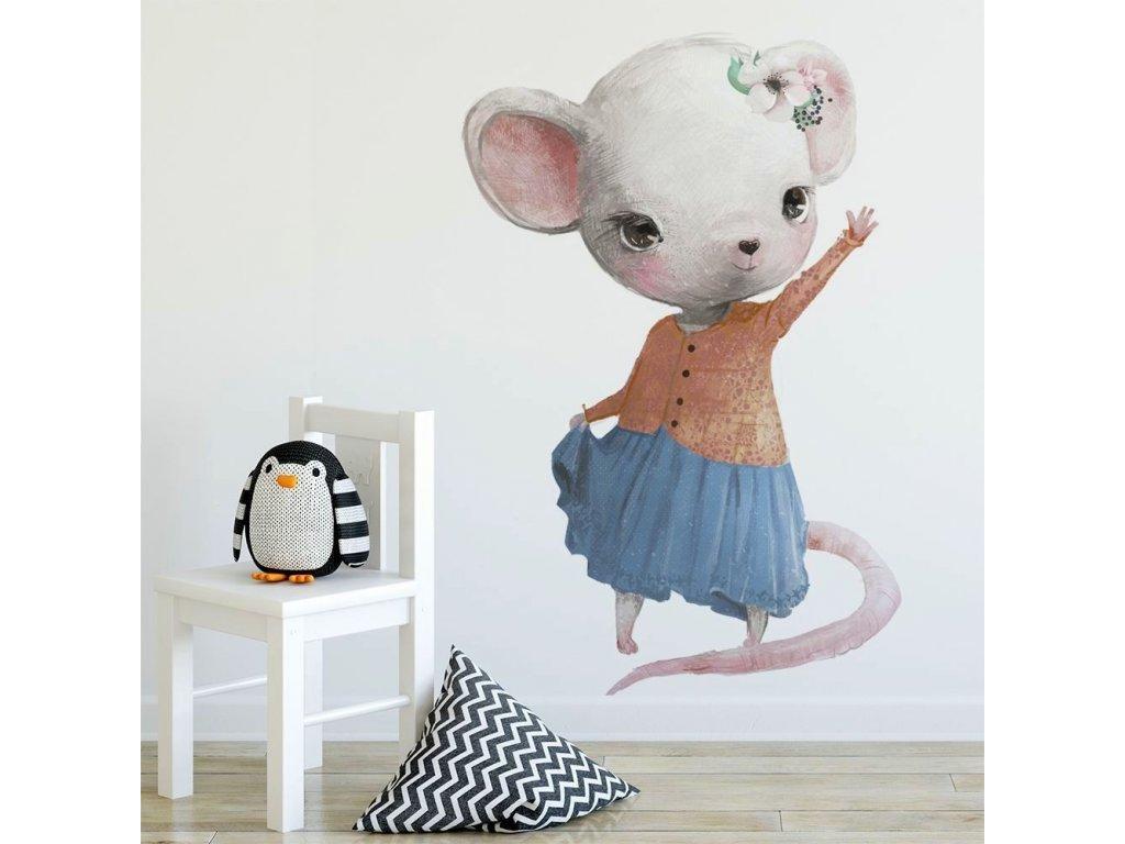 Samolepka na zeď mávající myšička