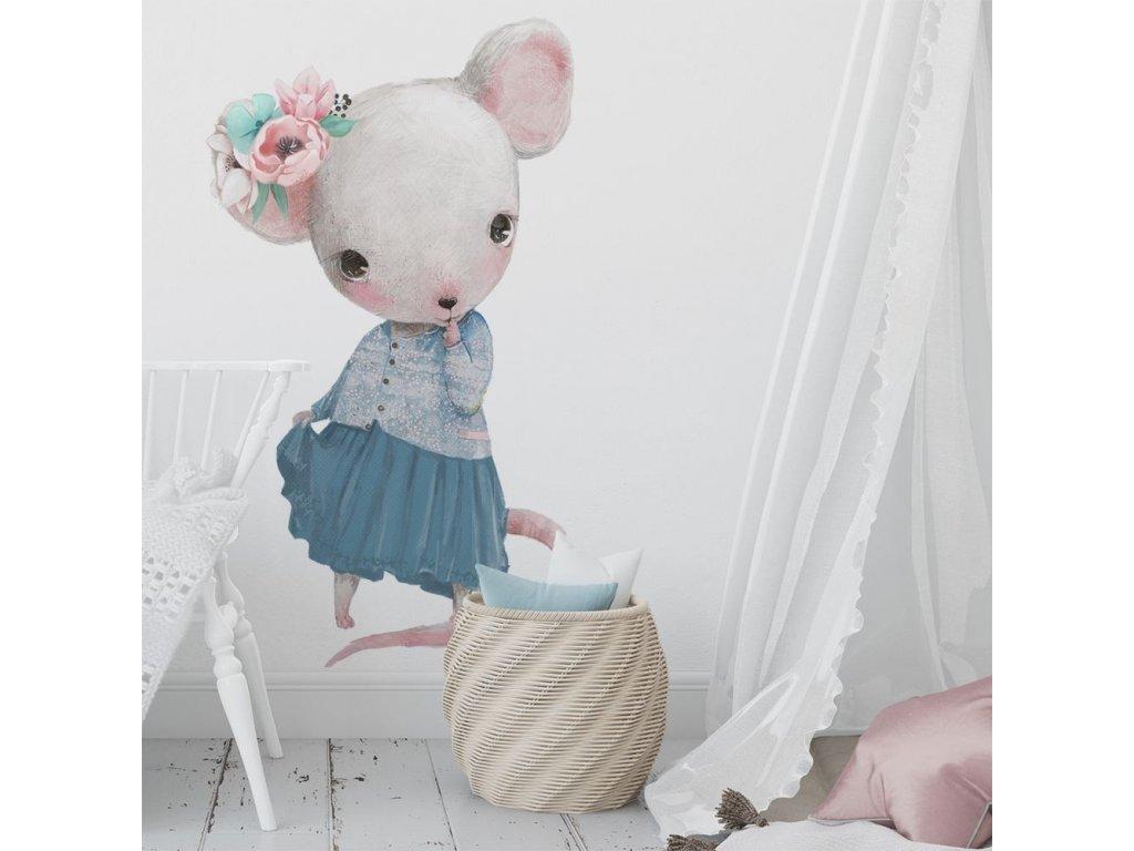 samolepka na stěnu myšička v sukýnce