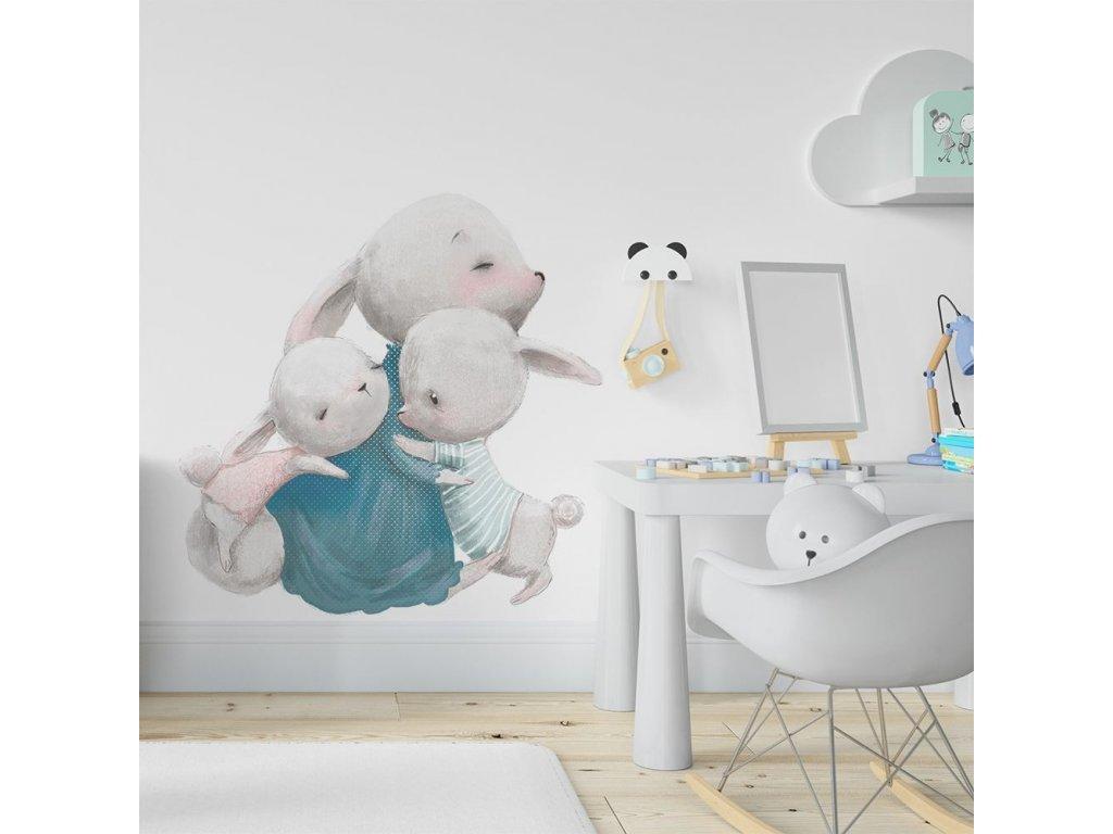 dětská nálepka na zeď maminka a králíčci