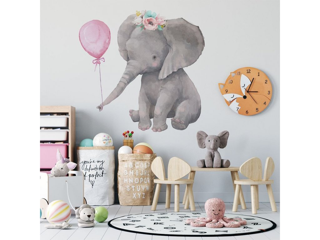 dětská nálepka na zeď slon s balónkem