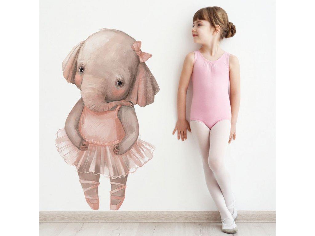 dětská samolepka na stěnu baletka slon