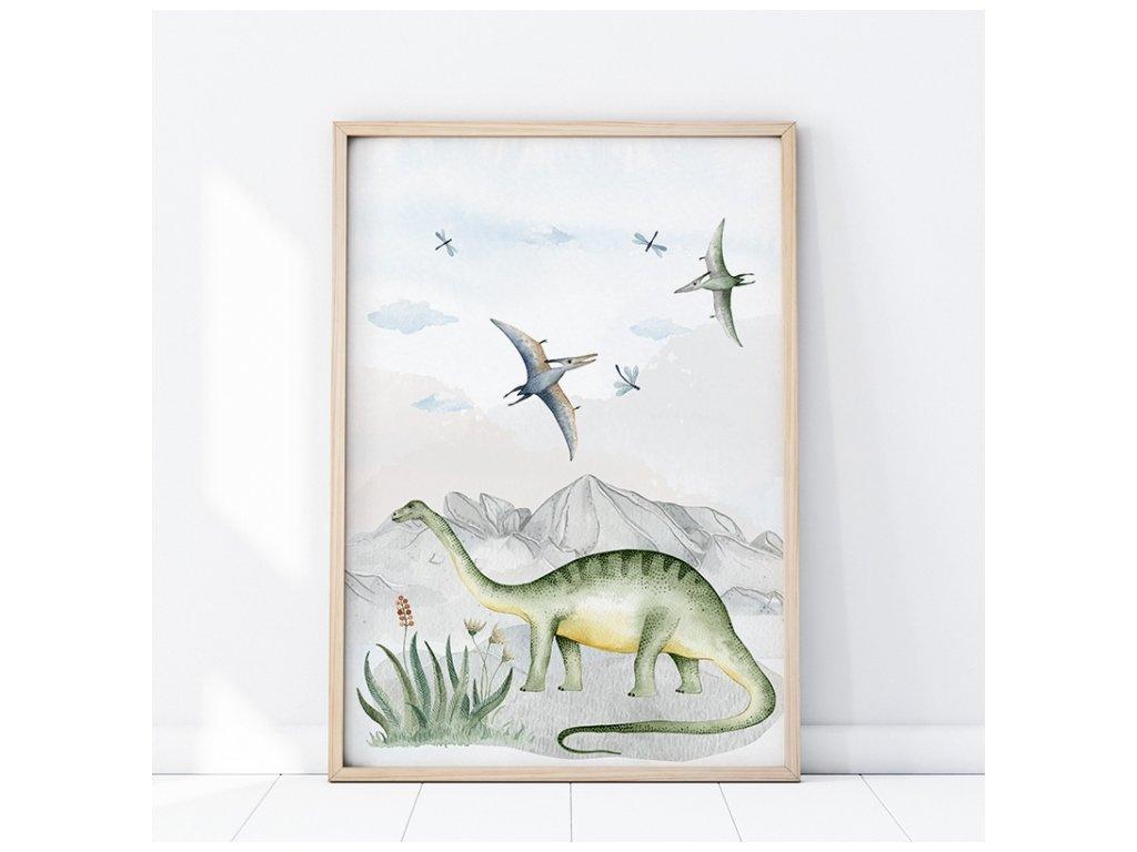 Plakát na zeď do dětského pokoje Brontosaurus