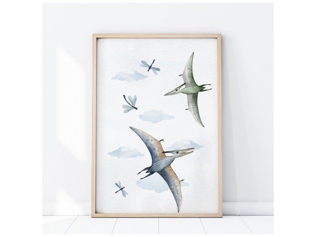 Plakát do dětského pokoje Létající dinosauři