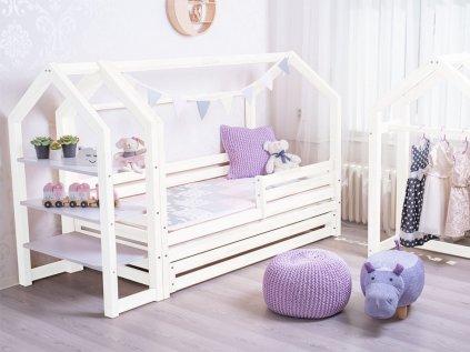 Nová domečková postel s šuplíkem premium v elegantní bílé barvě