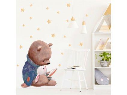 Nálepka do dětského pokoje medvídek s knížkou