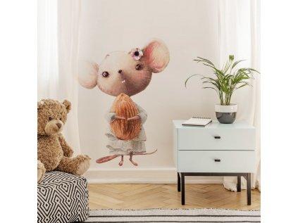 Dětská samolepka na zeď myška s mandličkou