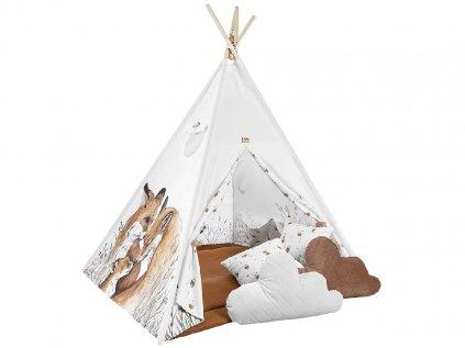 Krásný dětský teepee stan s liščím vzorem