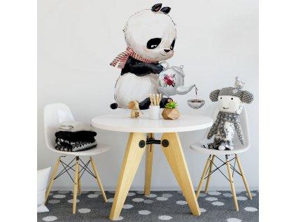 Samolepka či nálepka na stěnu dětského pokoje panda s konvičkou
