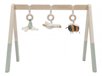 Kvalitní dřevěná dětská hrazdička se 3 zavěšenými plyšovými hračkami