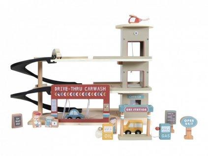 Patrová dřevěná garáž pro děti na autíčka s příslušenstvím