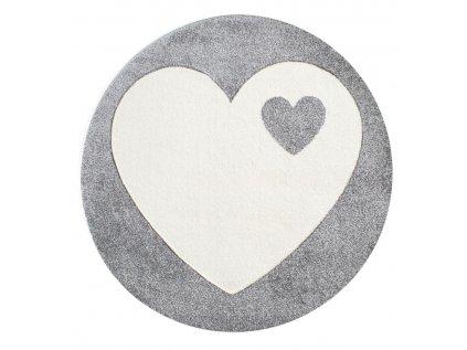 Dětský kulatý koberec - Srdce