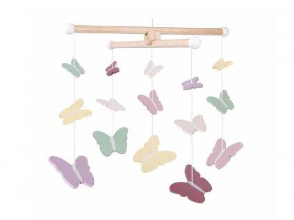 Dřevěný kolotoč nad dětskou postýlku s barevnými motýly