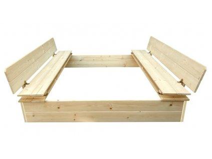 Pískoviště dřevěné čtyřhranné s krytem / lavičkou přírodní