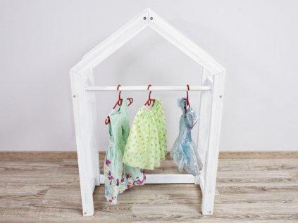 Elegantní dřevěný dětský stojan na oblečení premium bílý