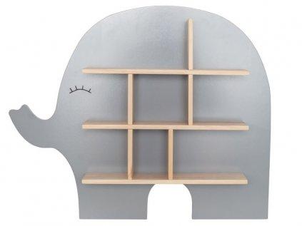 Roztomilá dětská dřevěná police šedý slon