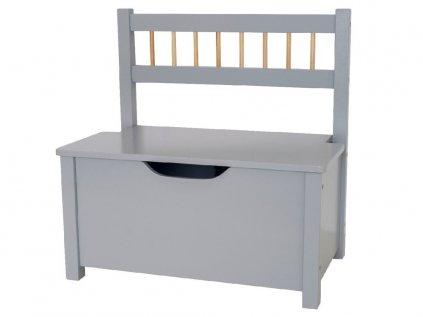Dřevěná lavice s úložným prostorem v neutrální šedé barvě