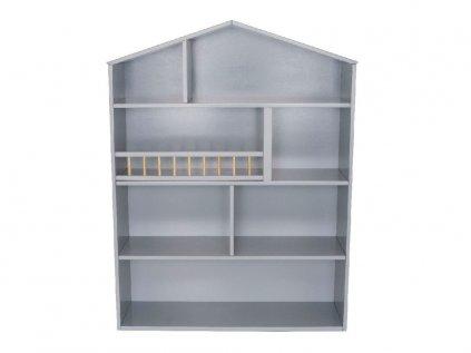 Knihovna domeček nebo dětský regál v šedé barvě