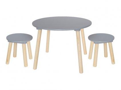 Barevně neutrální set kulatého stolečku a stoliček do dětského pokoje