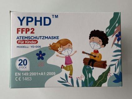 Balení dětských respirátorů FFP2 v bílé barvě 20 kusů