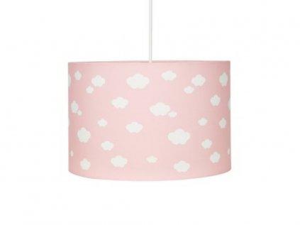 Dětské stropní světlo v růžové barvě s bílými obláčky různých rozměrů