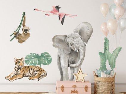 Nálepka na stěnu dětského pokoje zvířátka ze savany