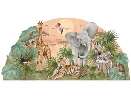Samolepka na zeď s africkými zvířátky