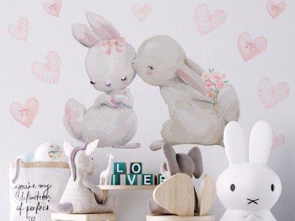 Samolepka Zamilovaní králíčci a pusinka