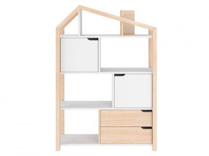Přírodní varianta dětského domečkového regálu i knihovny v jednom