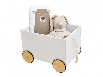 Dřevěný box na hračky na kolečkách vozíček