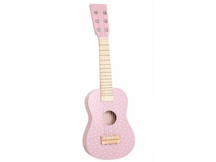 Dřevěná kytara pro holčičky v růžové barvě s puntíky