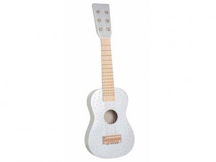 Dřevěná kytara stříbrná s puntíky pro kluky i holky