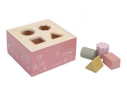 Růžová dětská vkládačka ze dřeva