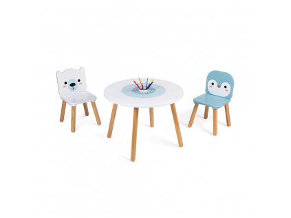 Dřevěný stolek se židlemi pro děti