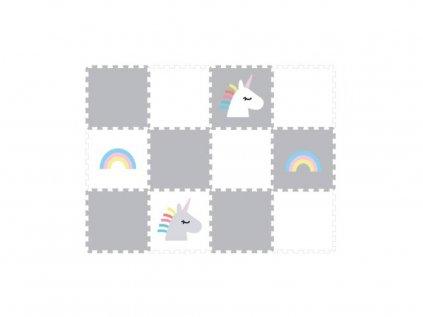 Penova puzzle podlaha do detskeho pokoje duha a jednorozec