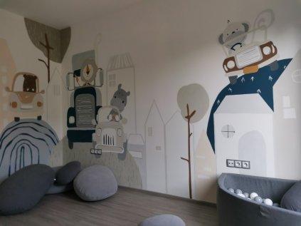 Krásná malba přímo na stěnu Klučičí pokojíček