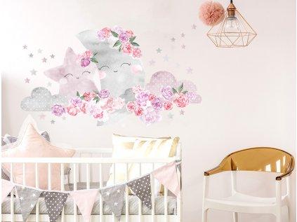 Nálepka na zeď měsíc a květiny