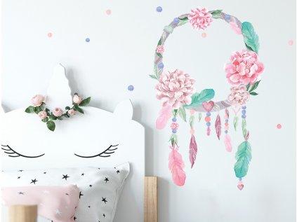 Nálepka na zeď lapač snů růžový
